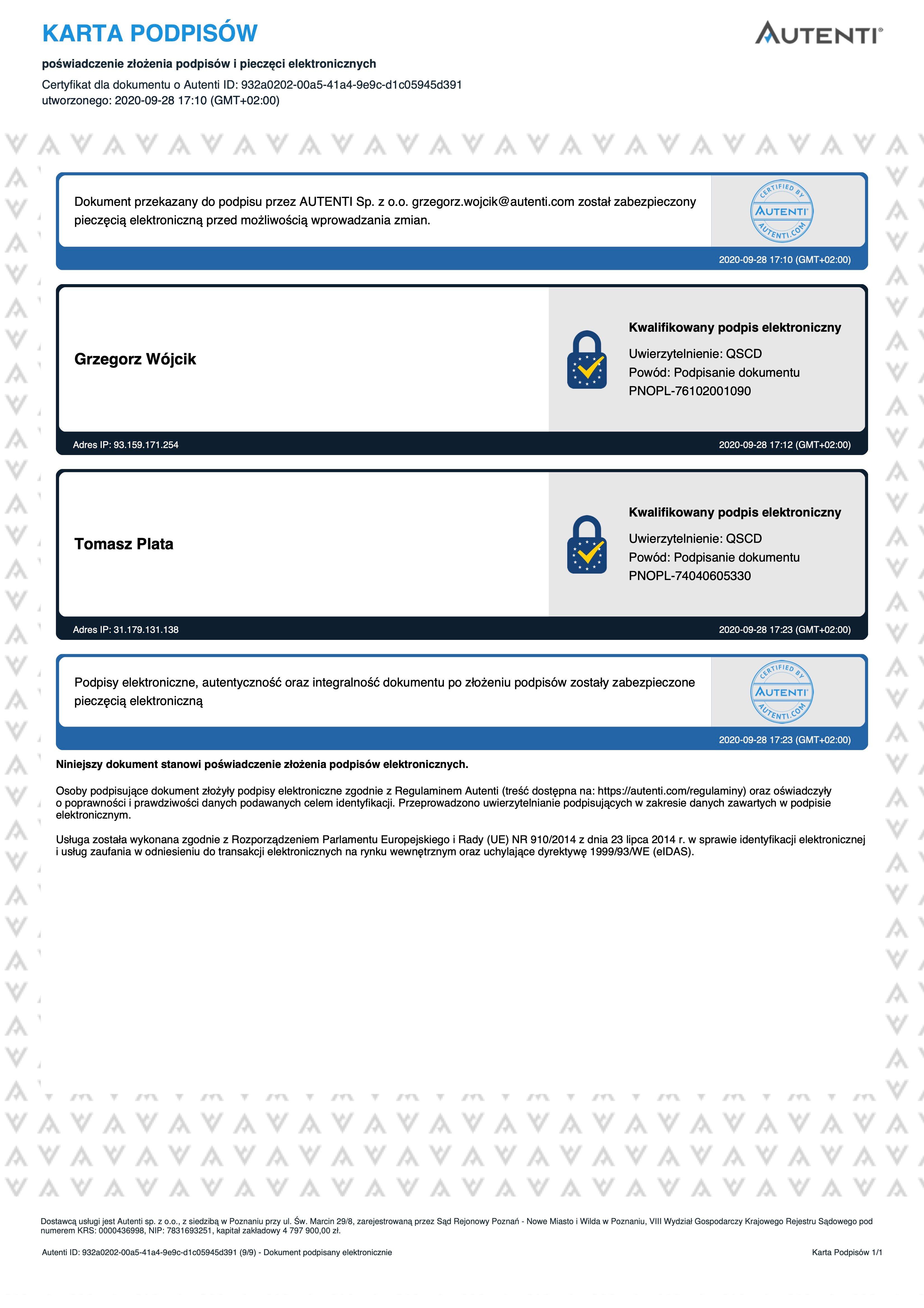 Karta Podpisów